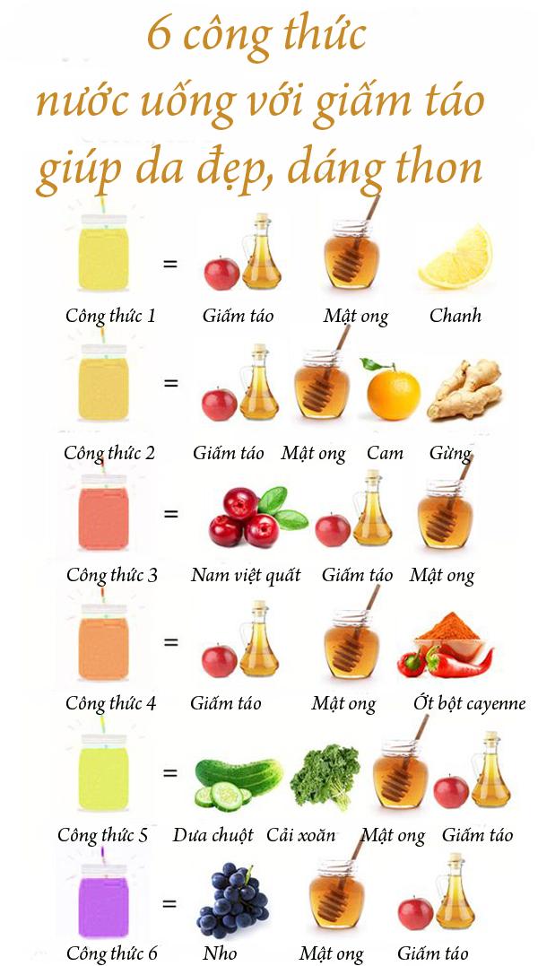 4.6 công thức nước uống với giấm táo giúp da đẹp, dáng thon