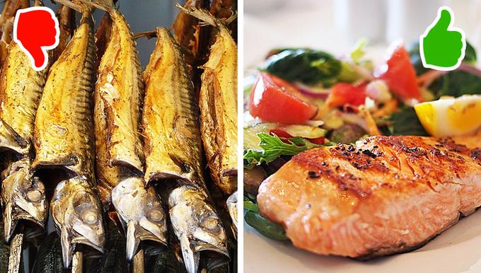 Hầu hết các loại cá đều chứa chất béo tốt, không gây tăng cân. Luộc, nướng là 2 cách chế biến tốt nhất dành cho loại thực phẩm này. Cá phơi khô, chiên hay hun khói đều chứa nhiều gia vị, dầu mỡ, làm ảnh hưởng đến quá trình giảm cân.