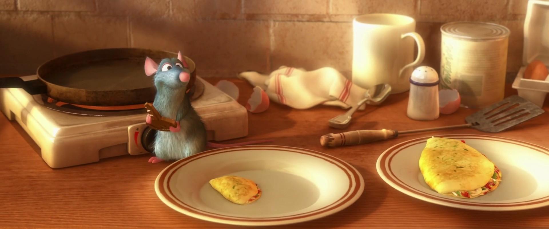 Omelette là một trong số những món ăn xuất hiện đầu tiên trong phim.