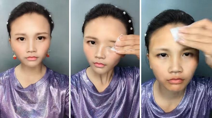 Cô gái dùng thủ thuật nâng mũi giả bằng cách đắp bột rồi thêm vài nét phấn son để hoàn thiện việc họa mặt.