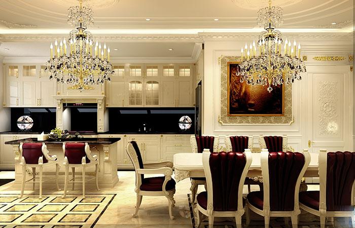 Mẫu phòng bếp cổ điển đẹp dành cho nhà biệt thự1