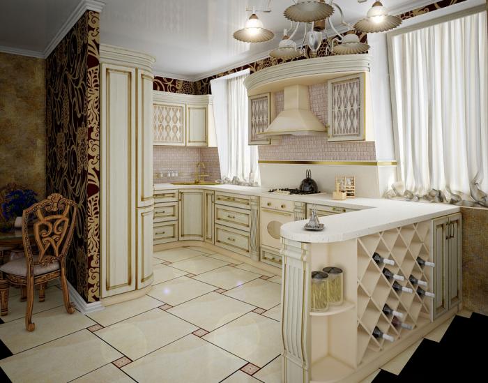 Một kiến trúc biệt thự cổ điển cao cấp nhất định phải xem qua những mẫu thiết kế phòng bếp như thế này.