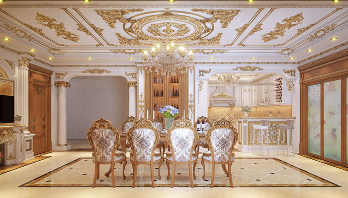 Mẫu phòng bếp cổ điển đẹp dành cho nhà biệt thự 01