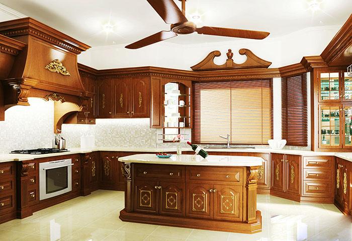Mẫu phòng bếp cổ điển đẹp dành cho nhà biệt thự 05