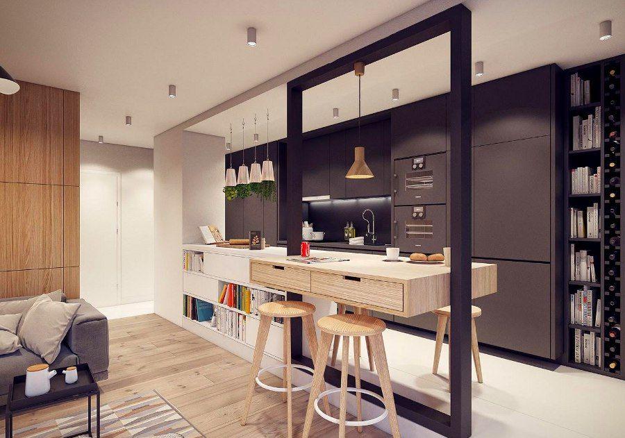 Thiết kế mẫu tủ bếp gỗ có quầy bar hiện đại ngăn bếp và phòng khách với thiết kế thông minh, tận dụng không gian tiết kiệm diện tích.