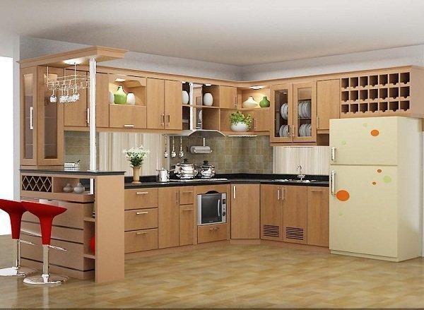 Mẫu tủ bếp gỗ có quầy bar gỗ tự nhiên theo phong cách hiện đại phù hợp mọi không gian