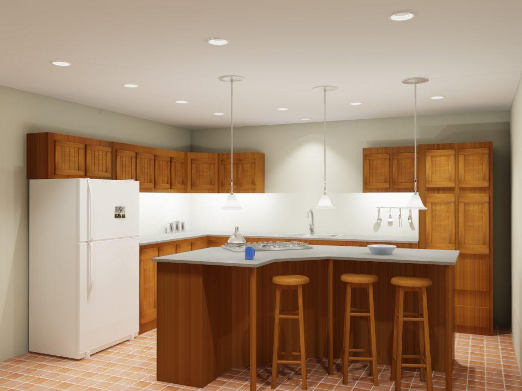 Quầy bar bếp bằng gỗ tự nhiên cùng tông màu gỗ với tủ bếp