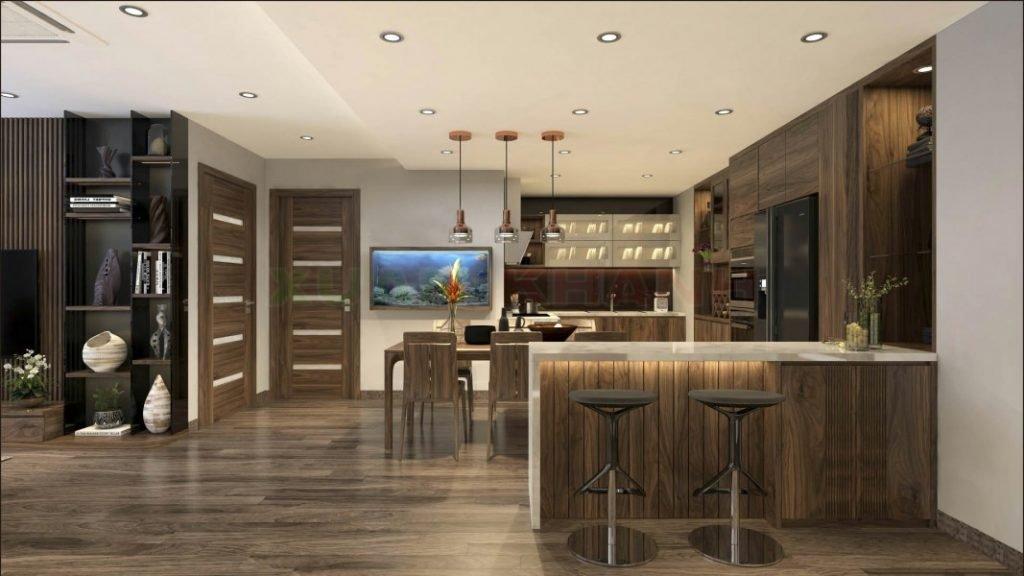 Bộ sưu tập mẫu tủ bếp gỗ có quầy bar gỗ tự nhiên óc chó thiết kế hiện đại sang trọng và đẳng cấp.