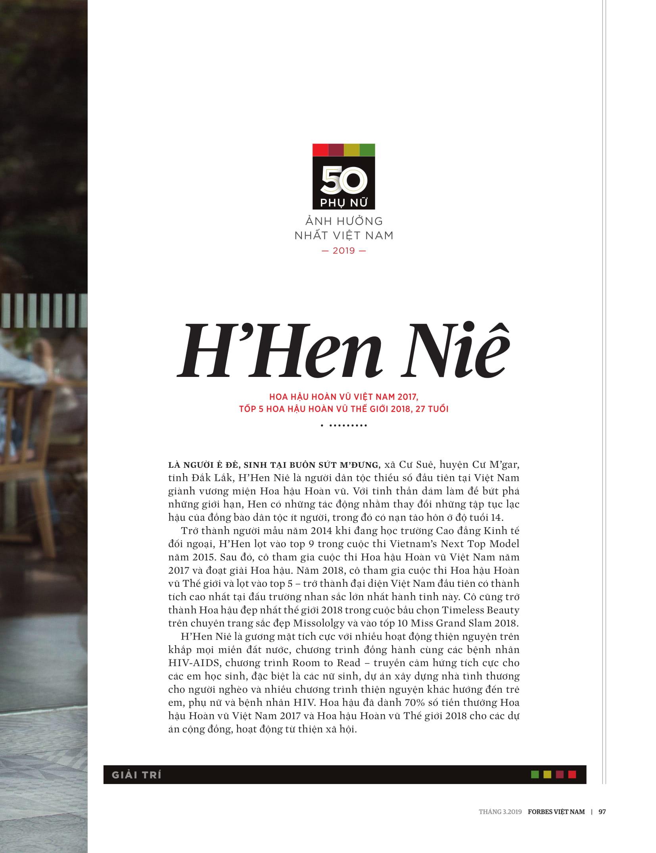 H'Hen Niê - Tap chi Forbes Vietnam