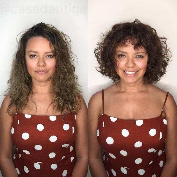 Mái tóc bob xoăn xù mì phần nào giấu được nhược điểm khuôn mặt tròn, giúp nâng tầm nhan sắc cho cô gái này.