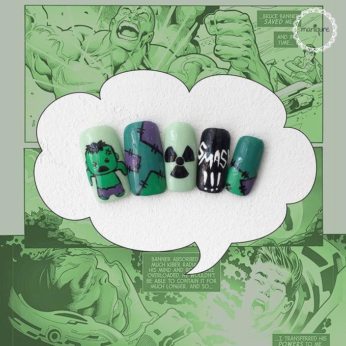 Màu xanh lá đại diện cho nhân vật khổng lồ - Hulk. Nếu không muốn quá nổi bật với màu 'chuẩn' của Hulk, bạn có thể đổi sang màu pastel nhẹ nhàng hơn và vẽ thêm các 'đặc điểm nhận dạng' của nhân vật này.