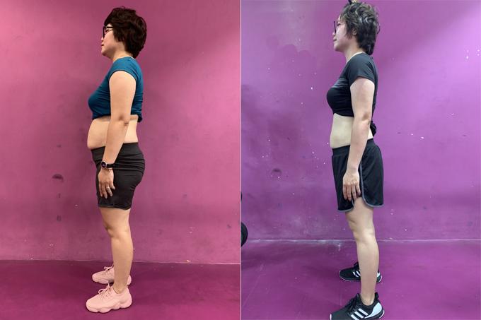 Giảm 13 kg thành công giúp bà mẹ hai con bớt tự ti vì vòng eo ngấn mỡ và thấy cơ thể khỏe mạnh, dẻo dai hơn hẳn.
