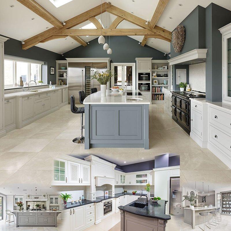 Không gian bếp tân cổ điển sang trọng vươn tới đỉnh cao sự kết hợp của hiện đại năng động và tinh túy của cổ điển mềm mại, lãng mạn.