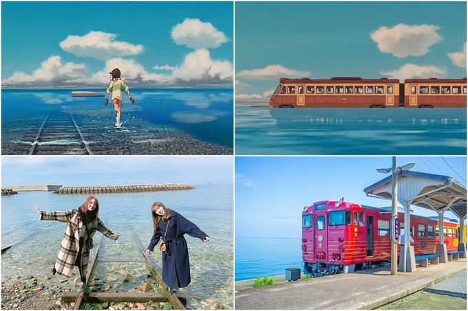 """Ga Shimonada và 'đường ray biến mất xuống biển' tại bãi biển Aoishi nằm gần đó khá quen thuộc với fan phim hoạt hình Ghibli. Nó được họa sĩ Miyazaki Hayao phát họa trong Spirited Away - bộ phim hoạt hình nổi tiếng đoạt giải """"Phim hoạt hình hay nhất"""" tại Oscar lần thứ 75."""
