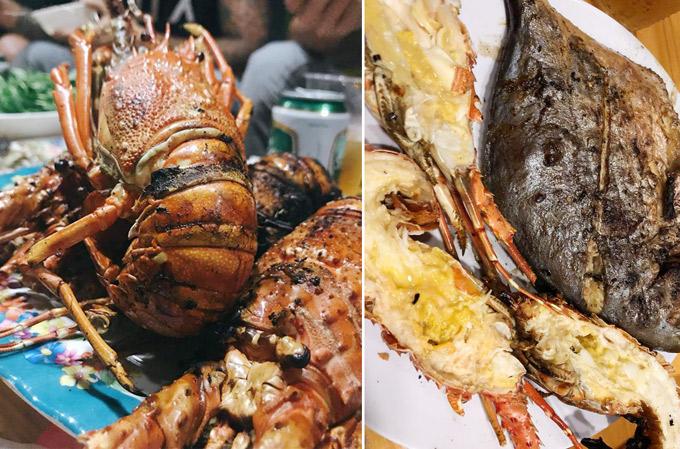 BBQ hải sản được nướng bếp than ngay trên bờ biển.