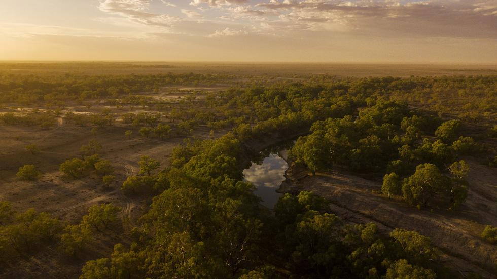 Sông Darling-Barka ở Wilcannia, Úc nhìn từ trên cao - Ảnh: Getty Images