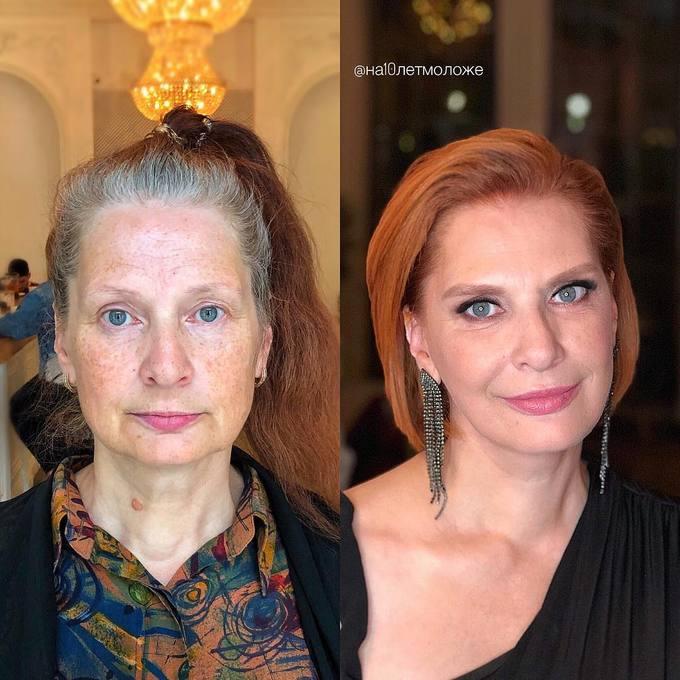 Thay đổi kiểu tóc và chọn lối trang điểm phù hợp giúp người phụ nữ này  trẻ ra đến chục tuổi.