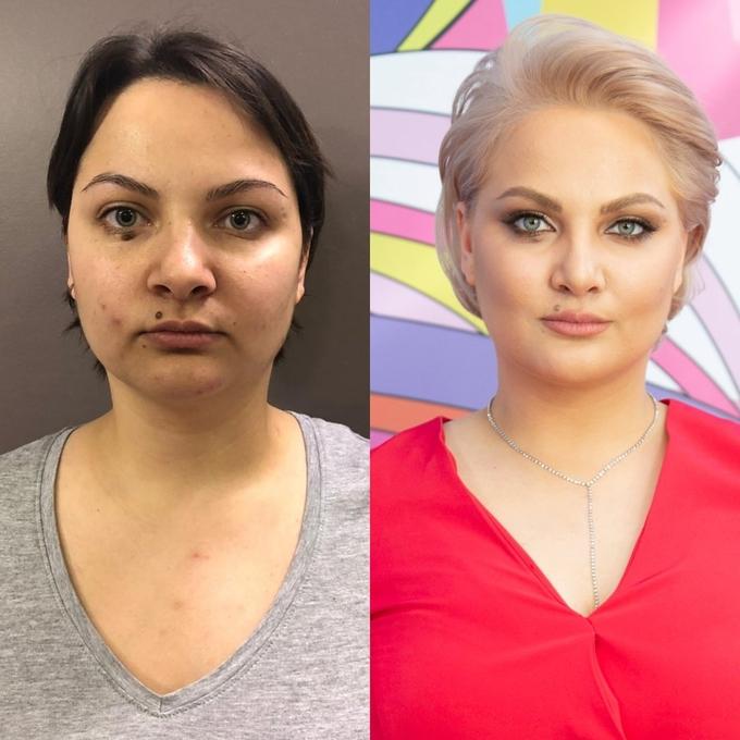 Màu tóc bạch kim cùng kiểu mái hớt cao giúp gương mặt sáng hơn. Kỹ thuật tạo khối tạo vẻ hài hòa, cân đối cho tổng thể.