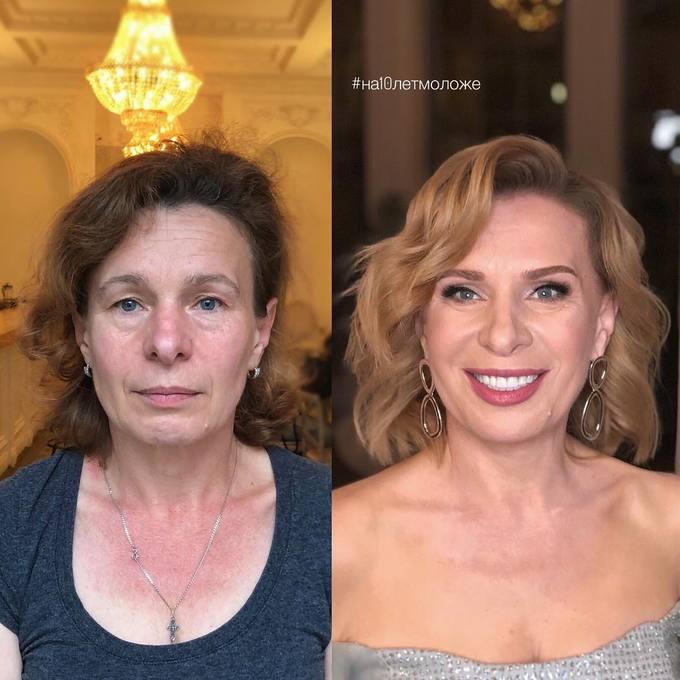 Làn da không đều màu được che giấu hoàn toàn bởi lớp trang điểm cầu kỳ. Đôi môi mỏng cũng được cải thiện bằng cách sử dụng màu son sáng, tạo vẻ căng mọng, dày hơn.