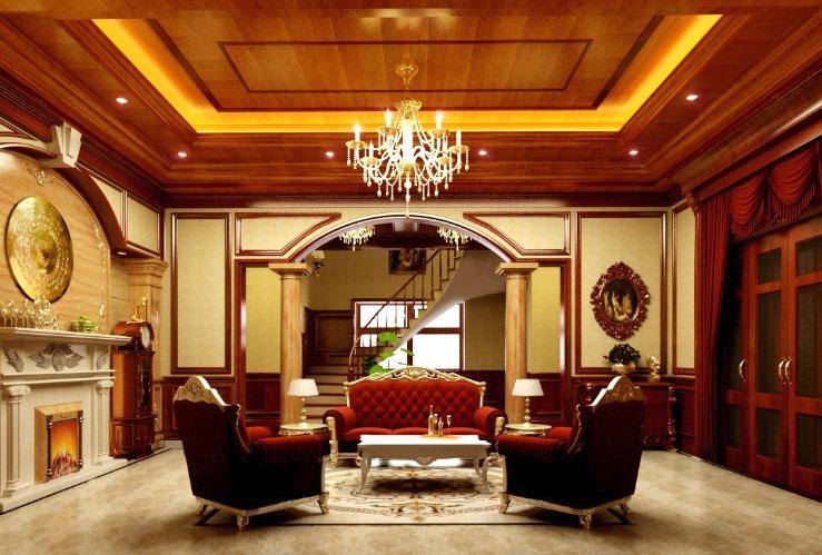Thiết kế nội thất phòng khách biệt thự đẹp sang trọng theo phong cách cổ điển Châu Âu.