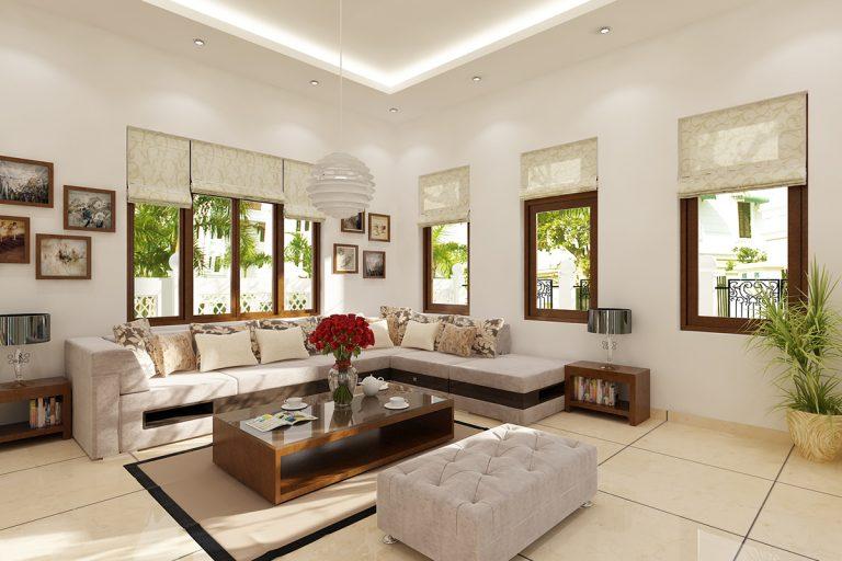 Thiết kế nội thất phòng khách biệt thự đẹp sang trọng theo phong cách hiện đại Châu Âu.