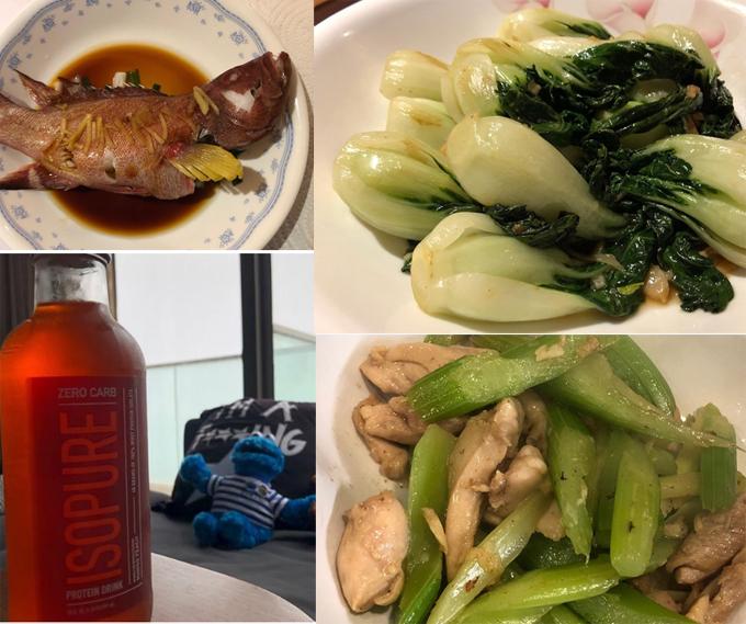 Thực đơn trong ngày của cô luôn có rau xanh, protein từ ức gà hoặc hải sản, thịt bò.