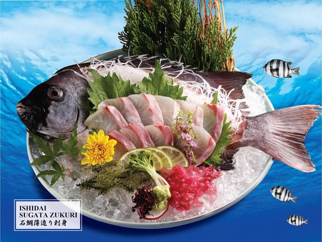 Món Ishidai Sugata Zukuri với lát cá mỏng, bảng to, mang lại cảm giác béo tràn ngập đầu lưỡi