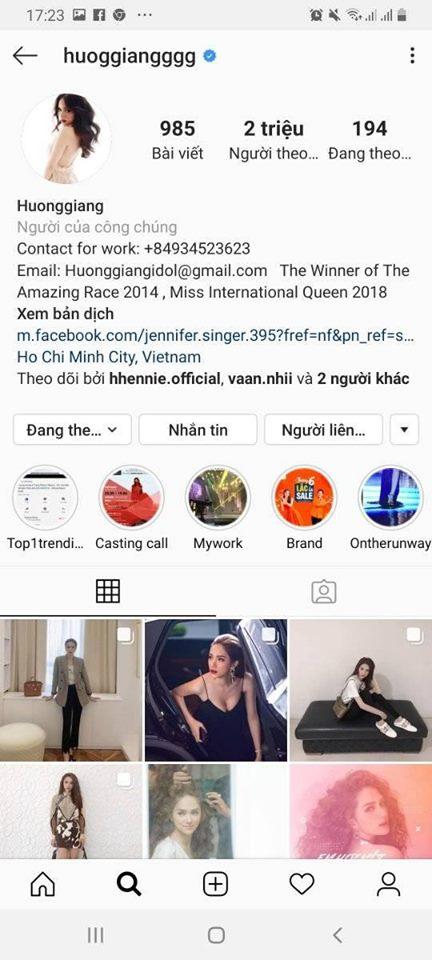 Hương Giang là hoa hậu đầu tiên cán mốc 2 triệu lượt followtrên Instagram.