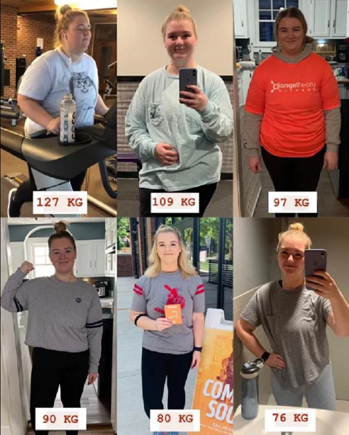 Britt không giấu được sự tự hào khi nhìn lại hành trình giảm cân của bản thân