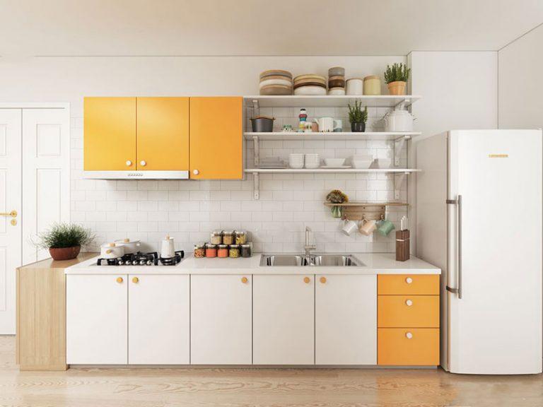 Thiết kế bếp hiện đại mang đến không gian bếp ấn tượng sạch sẽ và gọn gàng.