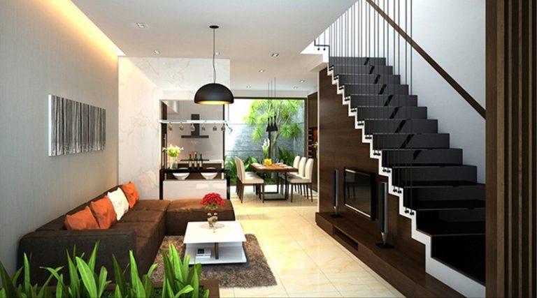 Thiết kế bếp cho nhà ống liên thông với phòng khách theo phong cách không gian mở.