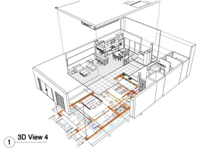 Bản vẽ thiết kế bếp góc nhìn 3D tổng thể.