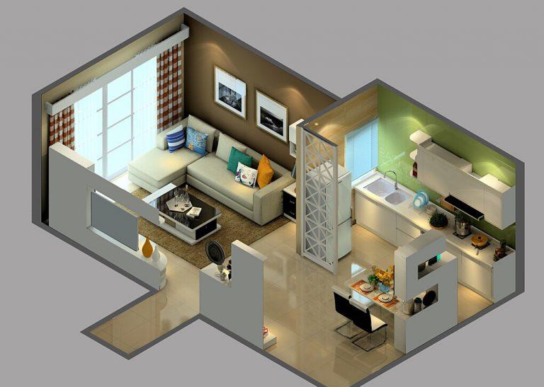 Bản vẽ thiết kế bếp liên thông phòng khách.