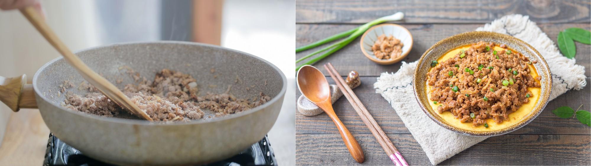 Thành phẩm:  Trứng hấp thịt băm là một món ăn đơn giản ngon miệng thích hợp cho trẻ em và người già. Món ăn đem lại vị mềm mượt của trứng lại có vị đậm đà của thịt xào. Đây là món ăn mặn thích hợp chế biến hàng ngày.