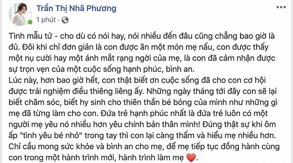 Nhã Phương đã thừa nhận sinh con thông qua lời cảm ơn mẹ mình