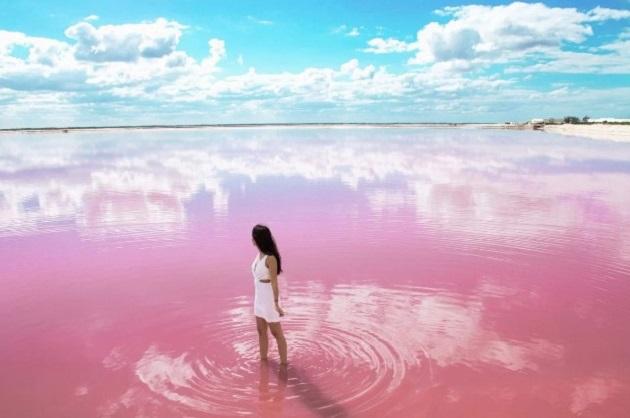 Hồ nước khá an toàn với sức khỏe con người nên nhiều du khách sẵn sàng lội xuống để có những bức ảnh ưng ý.