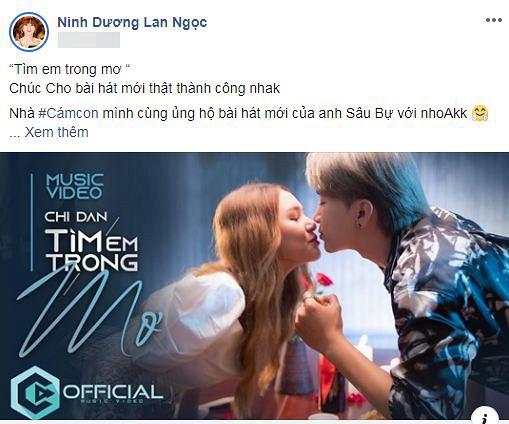 """Ninh Dương Lan Ngọc kêu gọi fans ủng hộ MV mới của """"bạn trai tin đồn"""" là Chi Dân."""