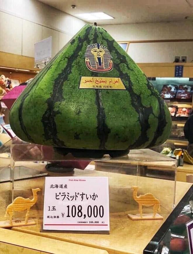 Quả dưa hấu được bày đẹp mắt trong siêu thị tại Nhật Bản. Ảnh: FBNV.