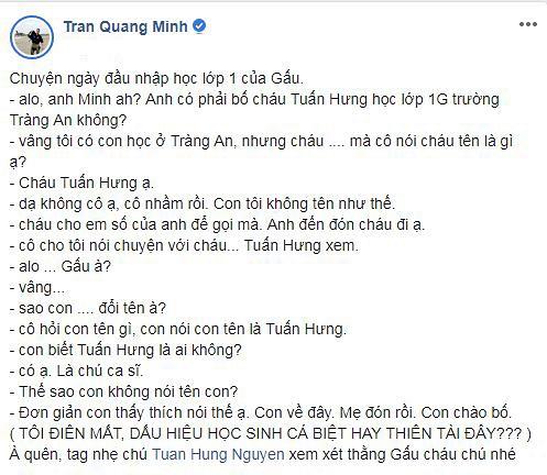 BTV Quang Minh kể về việc con trai đổi tên thành Tuấn Hưng