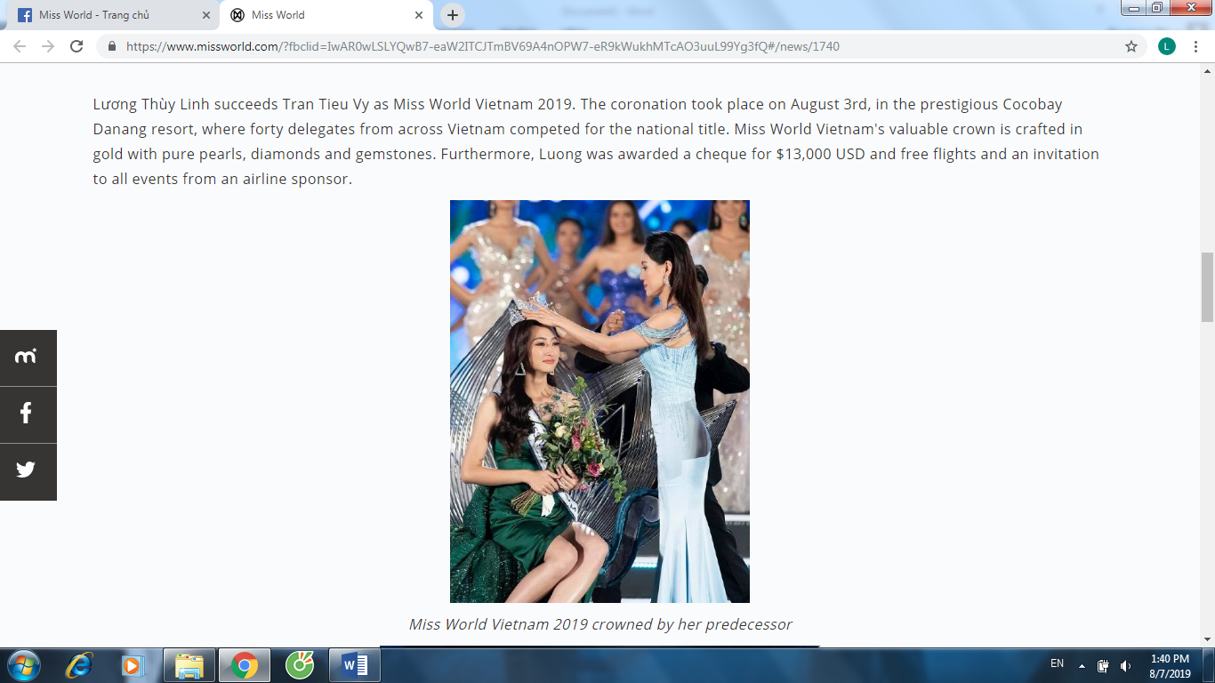 LUONG THUY LINH MISS WORLD