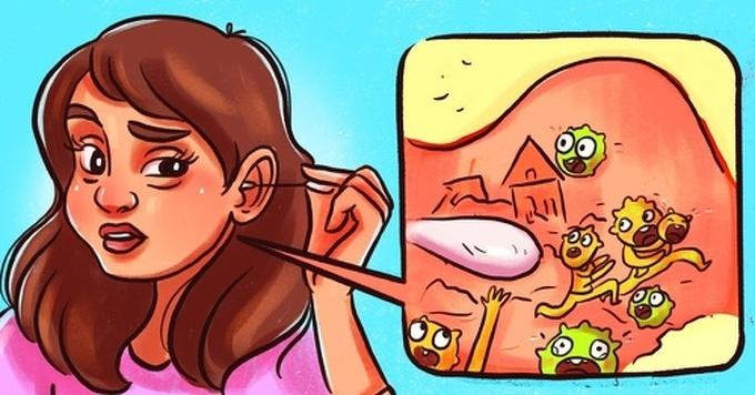 Dùng bông ngoáy tai  Làm sạch bằng bông ngoáy tai có thể đẩy vi khuẩn vào sâu trong ống tai. Nó có thể khiến bạn bị ù tai, thủng màng nhĩ hoặc nhiễm trùng. Để vệ sinh tai, bạn có thể dùng khăn ướt, dùng các dụng cụ vệ sinh chuyên dụng hoặc tới bệnh viện.