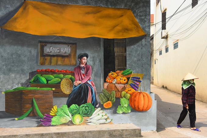 Bức tranh gợi lại một hàng rau truyền thống của thôn Chử Xá.