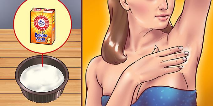 Nước hoa hồng + baking soda  Lấy 1/4 cốc nước hoa hồng, trộn baking soda cho đến khi được hỗn hợp sền sệt. Thoa lên vùng da dưới cánh tay đã được làm sạch, để trong 10 phút rồi rửa lại với nước mát. Nên thực hiện 2 lần mỗi tuần.