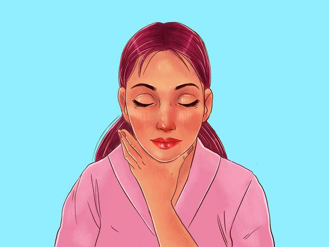 Đặt lòng bàn tay lên cổ, vuốt nhẹ từ dưới lên trên, từ trước ra sau cổ để kết thúc các thao tác massage.