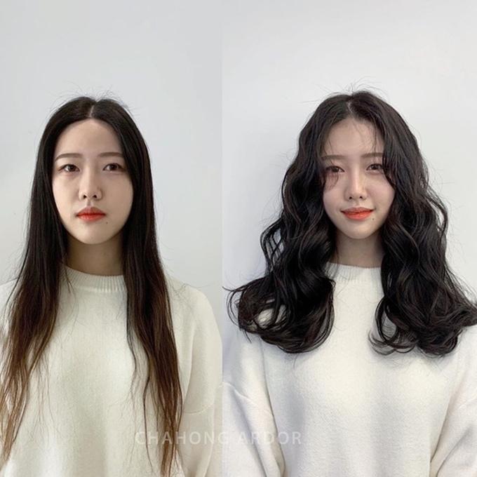 Nếu có mái tóc rất mỏng như cô gái này, bạn có thể uốn xoăn sóng nước để mái tóc trông dày dặn hơn.