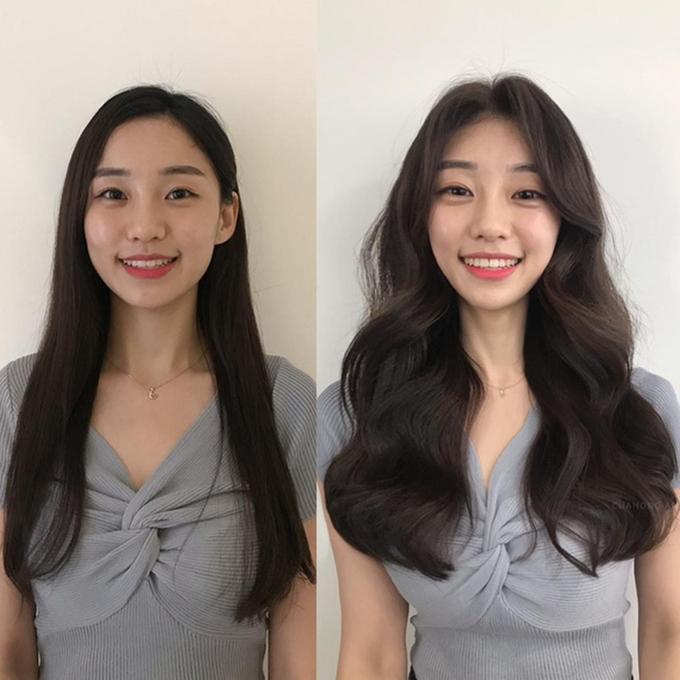 Uốn lọn cả phần tóc mái giúp che đi vầng trán dô.