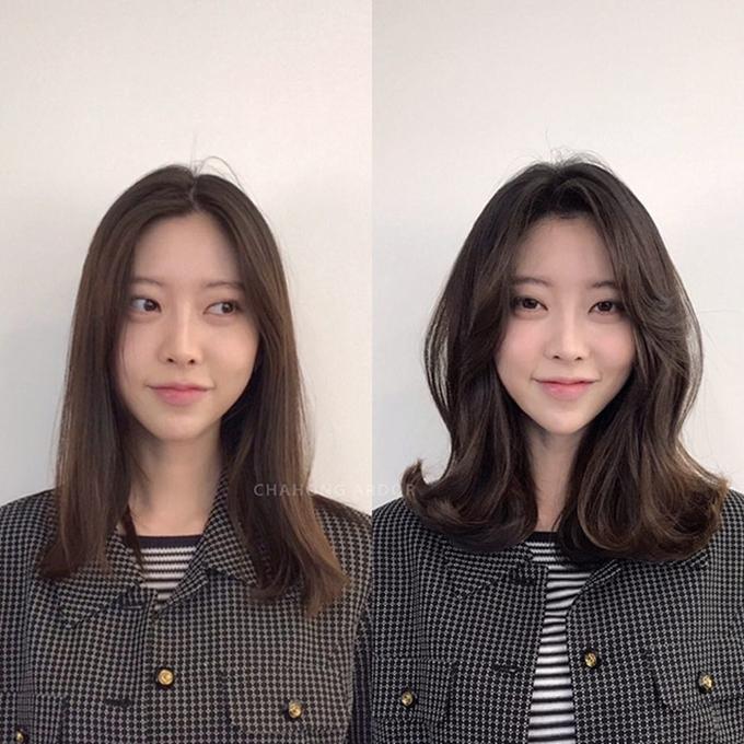 Nếu có độ dài tóc vừa qua vai, bạn có thể thử kiểu uốn xoăn vểnh hiện đại.