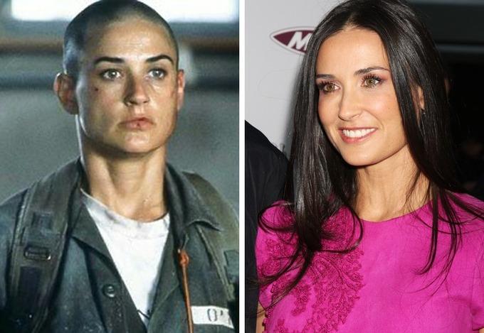 Năm 1997, Demi Moore khiến nhiều người bất ngờ khi cạo tóc để tham gia phim GI Jane.