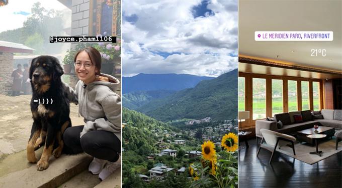 Trước đám cưới 5 tuần, đôi vợ chồng trẻ cùng gia đình của Joyce Phạm đến Bhutan - nơi được mệnh danh là quốc gia hạnh phúc nhất thế giới. Du khách đến với đất nước này đều phải mua tour mà không thể đi du lịch tự túc. Nhưng khác với những tour thông thường, gia đình đại gia siêu xe đã chọn nghỉ tại khách sạn đẳng cấp nhất nhì ở Bhutan, với view đẹp nhìn xuống thảo nguyên xanh bạt ngàn.