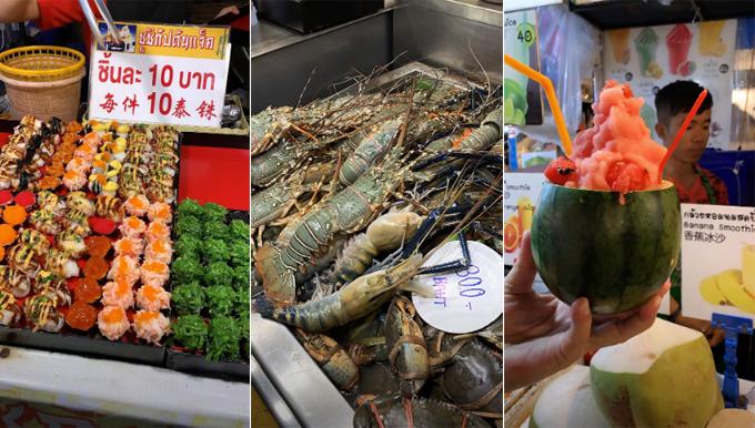 Nàng tiểu thư sinh năm 1999 đắm chìm trong thế giới đồ ăn vặt ở khu chợ đêm Train Night Market Ratchada. Khu chợ nổi tiếng bởi đồ ăn ngon và những gian hàng đồ vintage đầy sắc màu. Chợ mở cửa từ 17h hôm trước đến 2h sáng hôm sau, từ thứ 3 đến chủ nhật, đóng cửa ngày thứ 2.